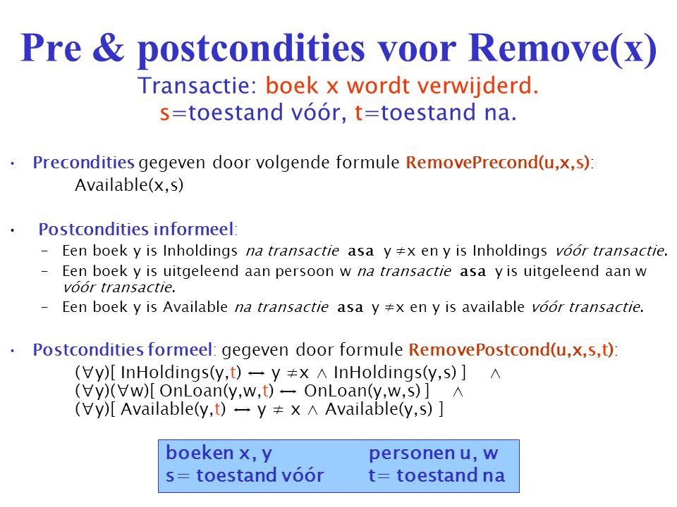 Pre & postcondities voor Remove(x) Transactie: boek x wordt verwijderd.