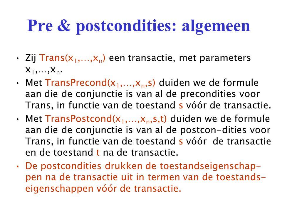 Pre & postcondities: algemeen Zij Trans(x 1,…,x n ) een transactie, met parameters x 1,…,x n.