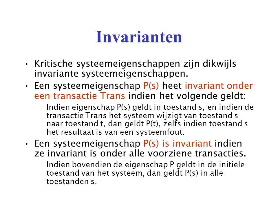 Invarianten Kritische systeemeigenschappen zijn dikwijls invariante systeemeigenschappen.