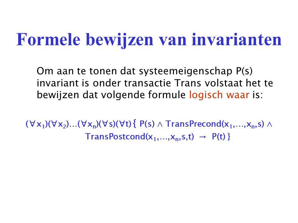 Formele bewijzen van invarianten Om aan te tonen dat systeemeigenschap P(s) invariant is onder transactie Trans volstaat het te bewijzen dat volgende formule logisch waar is: (∀x 1 )(∀x 2 )…(∀x n )(∀s)(∀t) { P(s) ∧ TransPrecond(x 1,…,x n,s) ∧ TransPostcond(x 1,…,x n,s,t) → P(t) }
