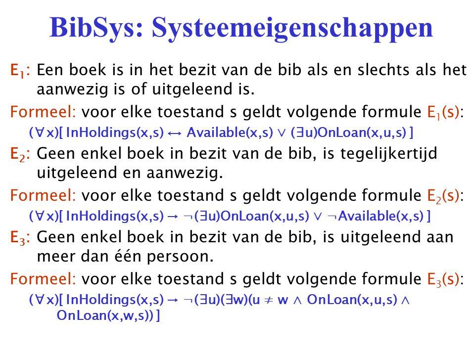 BibSys: Systeemeigenschappen E 1 :Een boek is in het bezit van de bib als en slechts als het aanwezig is of uitgeleend is.