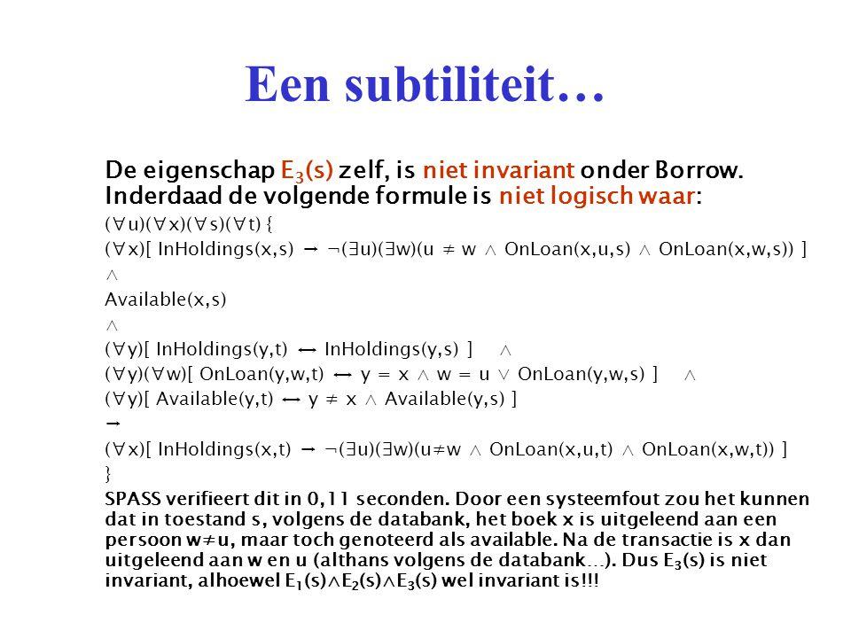 Een subtiliteit… De eigenschap E 3 (s) zelf, is niet invariant onder Borrow.