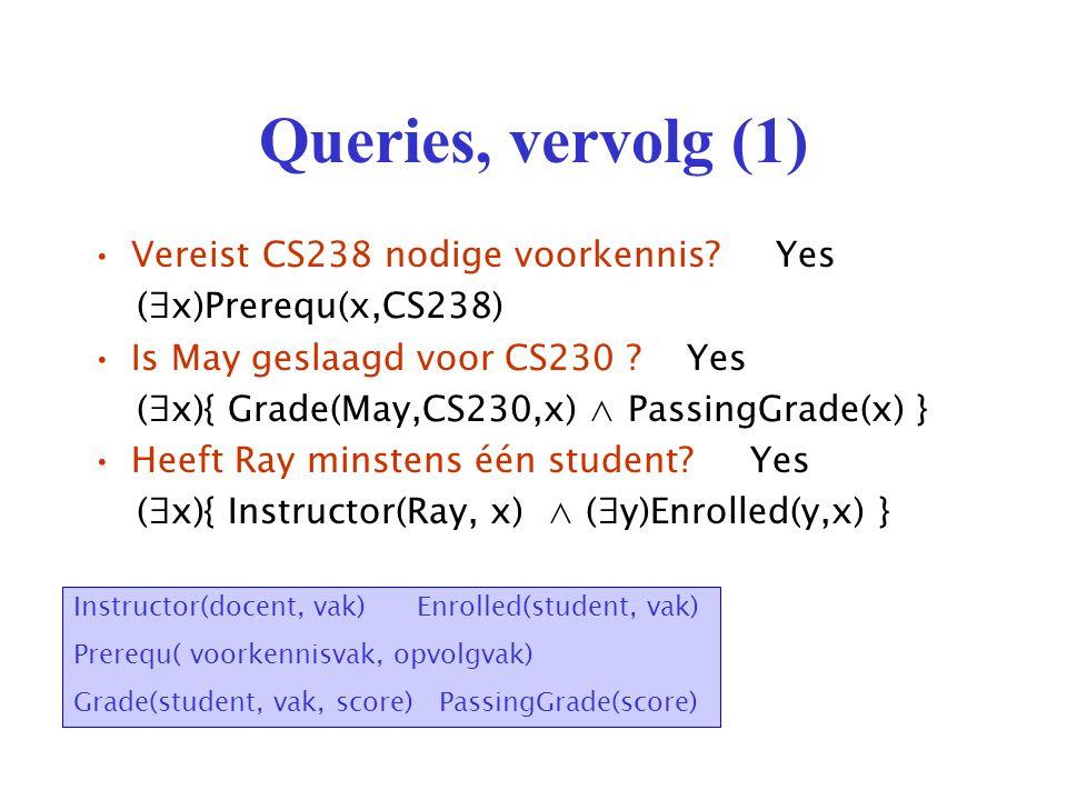 Disclaimer Twee correcte predikatenlogica-formuleringen van een zelfde query (geformuleerd in het Nederlands) hoeven niet noodzakelijk logisch equivalent te zijn.