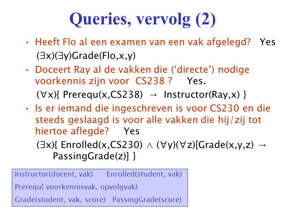 Oefeningen Formuleer volgende queries of constraints in predikatenlogica: 1.Zijn alle studenten die ingeschreven zijn voor CS230 geslaagd voor dat vak.