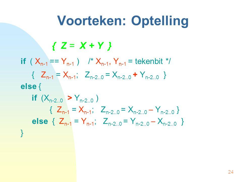 24 Voorteken: Optelling { Z = X + Y } if ( X n-1 == Y n-1 ) /* X n-1, Y n-1 = tekenbit */ { Z n-1 = X n-1 ; Z n-2..0 = X n-2..0 + Y n-2..0 } else { if (X n-2..0 > Y n-2..0 ) { Z n-1 = X n-1 ; Z n-2..0 = X n-2..0  Y n-2..0 } else { Z n-1 = Y n-1 ; Z n-2..0 = Y n-2..0  X n-2..0 } }