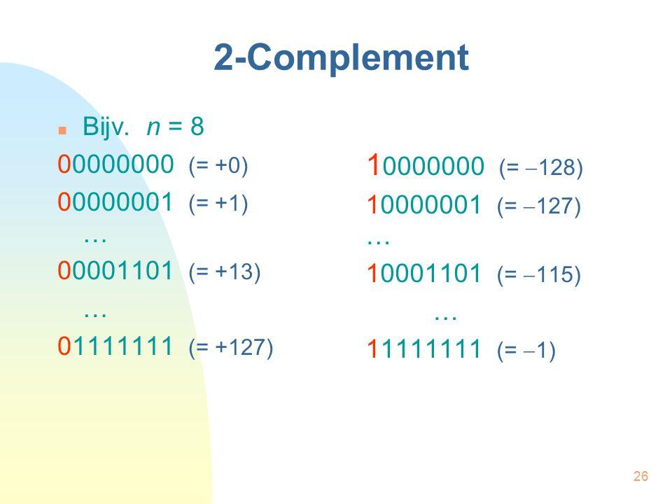 26 2-Complement Bijv. n = 8 00000000 (= +0) 00000001 (= +1) … 00001101 (= +13) … 01111111 (= +127) 1 0000000 (=  128) 10000001 (=  127) … 10001101 (