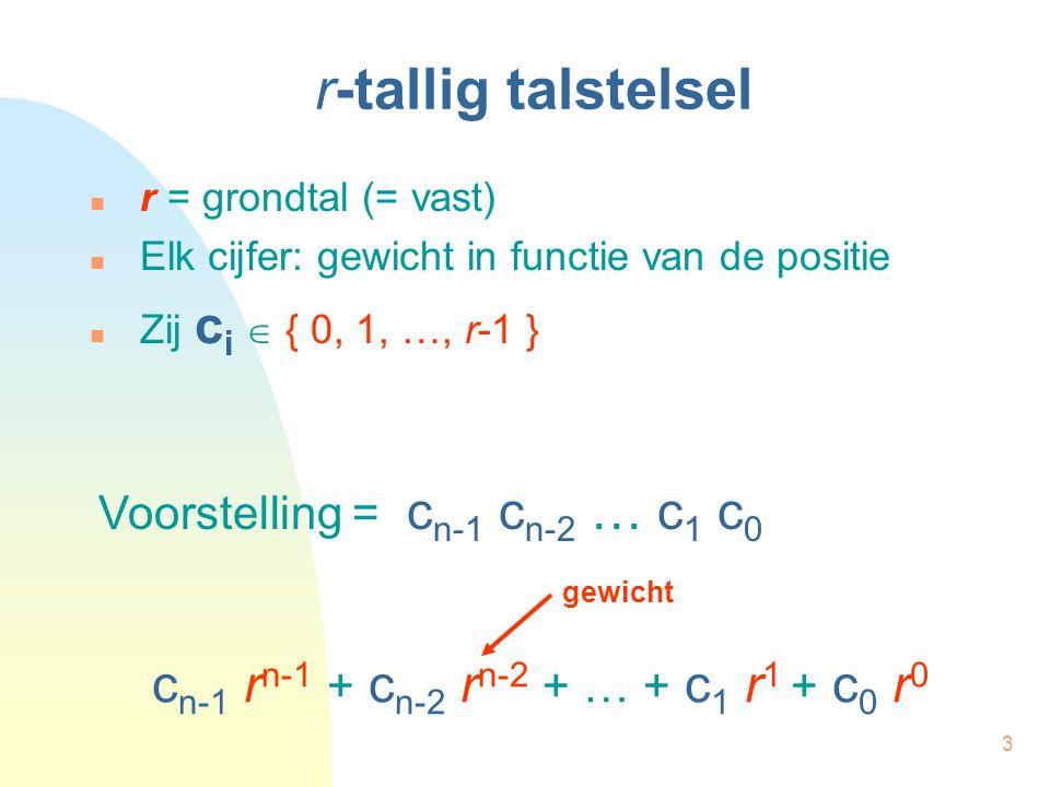 3 r-tallig talstelsel r = grondtal (= vast) Elk cijfer: gewicht in functie van de positie Zij c i  { 0, 1, …, r-1 } c n-1 r n-1 + c n-2 r n-2 + … + c 1 r 1 + c 0 r 0 Voorstelling = c n-1 c n-2 … c 1 c 0 gewicht