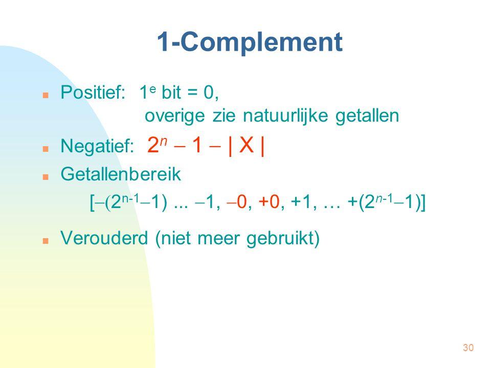 30 1-Complement Positief: 1 e bit = 0, overige zie natuurlijke getallen Negatief: 2 n  1  | X | Getallenbereik [  2 n-1  1)...  1,  0, +0, +1,