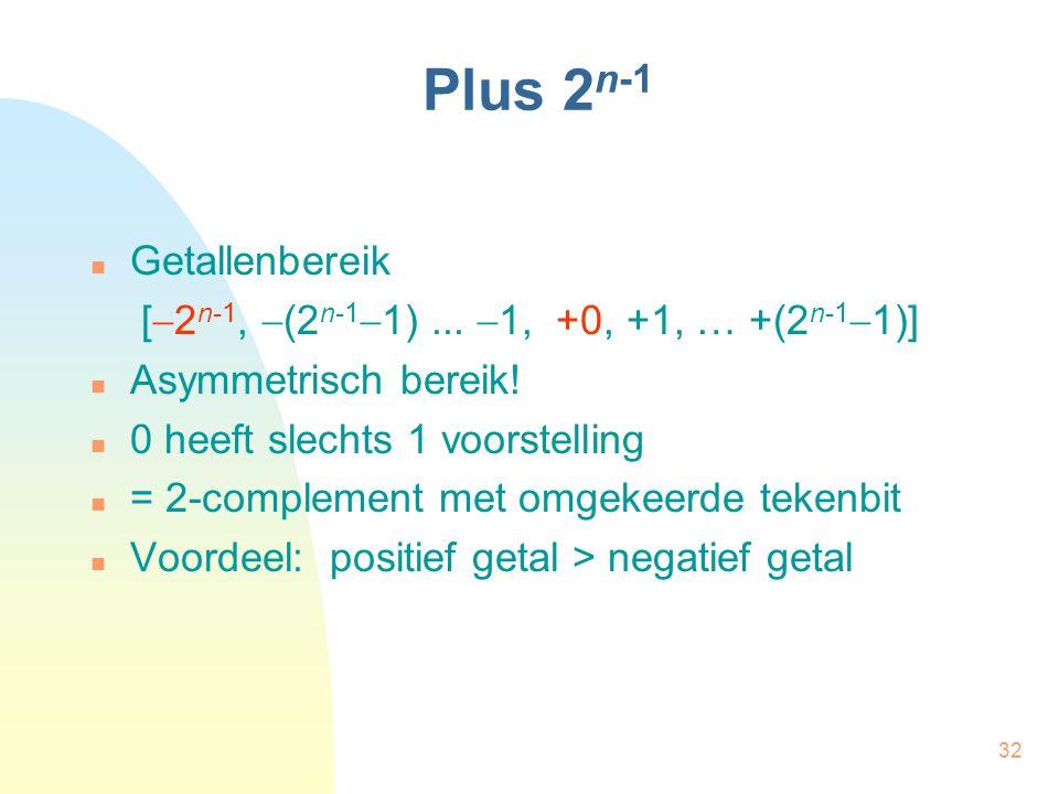 32 Plus 2 n-1 Getallenbereik [  2 n-1,  (2 n-1  1)...  1, +0, +1, … +(2 n-1  1)] Asymmetrisch bereik! 0 heeft slechts 1 voorstelling = 2-compleme