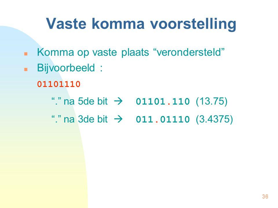 """36 Vaste komma voorstelling Komma op vaste plaats """"verondersteld"""" Bijvoorbeeld : 01101110 """"."""" na 5de bit  01101.110 (13.75) """"."""" na 3de bit  011.0111"""