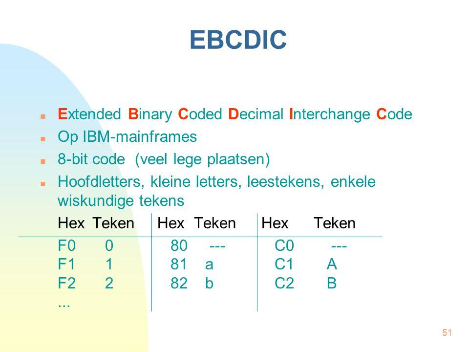 51 EBCDIC Extended Binary Coded Decimal Interchange Code Op IBM-mainframes 8-bit code (veel lege plaatsen) Hoofdletters, kleine letters, leestekens, enkele wiskundige tekens Hex TekenHex TekenHexTeken F0080 ---C0 --- F1181 aC1A F2282 bC2B...