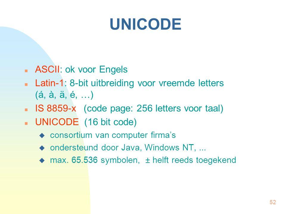 52 UNICODE ASCII: ok voor Engels Latin-1: 8-bit uitbreiding voor vreemde letters (á, à, ä, é, …) IS 8859-x (code page: 256 letters voor taal) UNICODE (16 bit code)  consortium van computer firma's  ondersteund door Java, Windows NT,...