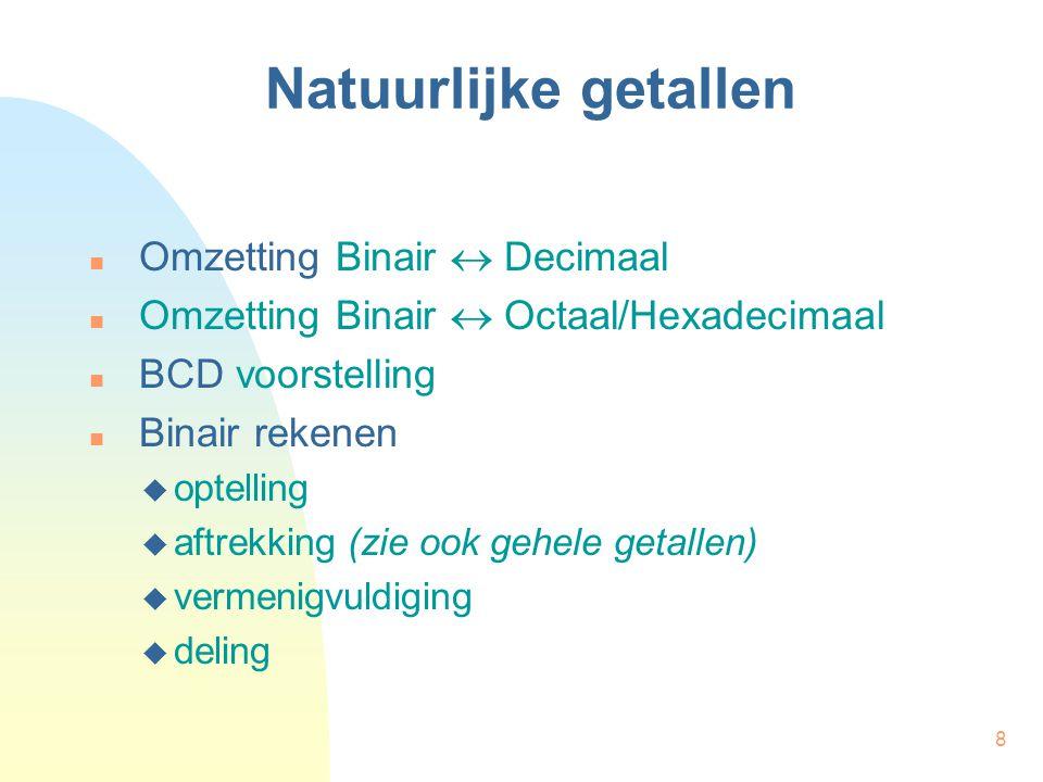 8 Omzetting Binair  Decimaal Omzetting Binair  Octaal/Hexadecimaal BCD voorstelling Binair rekenen  optelling  aftrekking (zie ook gehele getallen)  vermenigvuldiging  deling