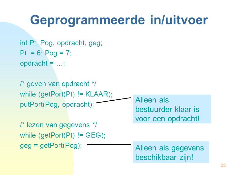 23 Geprogrammeerde in/uitvoer int Pt, Pog, opdracht, geg; Pt = 6; Pog = 7; opdracht = …; /* geven van opdracht */ while (getPort(Pt) != KLAAR); putPort(Pog, opdracht); /* lezen van gegevens */ while (getPort(Pt) != GEG); geg = getPort(Pog); Alleen als bestuurder klaar is voor een opdracht.