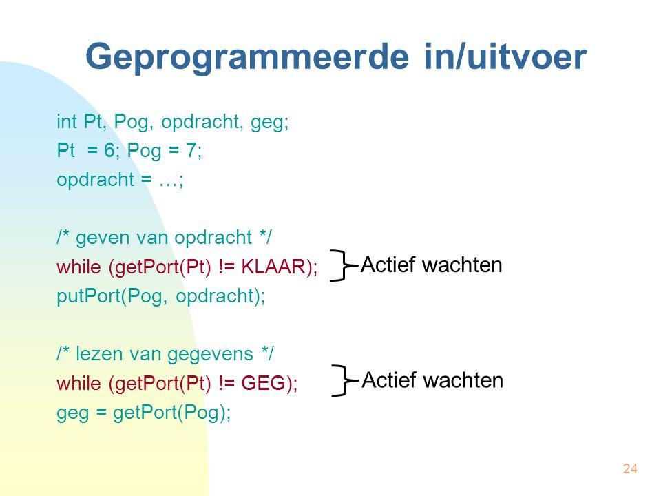 24 Geprogrammeerde in/uitvoer int Pt, Pog, opdracht, geg; Pt = 6; Pog = 7; opdracht = …; /* geven van opdracht */ while (getPort(Pt) != KLAAR); putPort(Pog, opdracht); /* lezen van gegevens */ while (getPort(Pt) != GEG); geg = getPort(Pog); Actief wachten