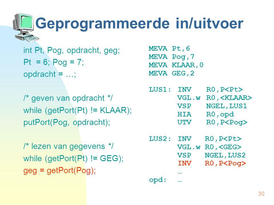 30 Geprogrammeerde in/uitvoer int Pt, Pog, opdracht, geg; Pt = 6; Pog = 7; opdracht = …; /* geven van opdracht */ while (getPort(Pt) != KLAAR); putPort(Pog, opdracht); /* lezen van gegevens */ while (getPort(Pt) != GEG); geg = getPort(Pog); MEVA Pt,6 MEVA Pog,7 MEVA KLAAR,0 MEVA GEG,2 LUS1:INVR0,P VGL.wR0, VSPNGEL,LUS1 HIAR0,opd UTVR0,P LUS2:INV R0,P VGL.w R0, VSP NGEL,LUS2 INV R0,P … opd:…