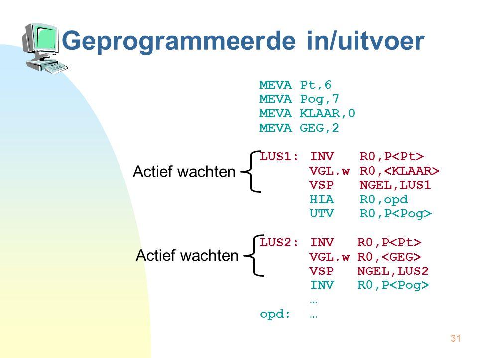 31 Geprogrammeerde in/uitvoer MEVA Pt,6 MEVA Pog,7 MEVA KLAAR,0 MEVA GEG,2 LUS1:INVR0,P VGL.wR0, VSPNGEL,LUS1 HIAR0,opd UTVR0,P LUS2:INV R0,P VGL.w R0, VSP NGEL,LUS2 INV R0,P … opd:… Actief wachten
