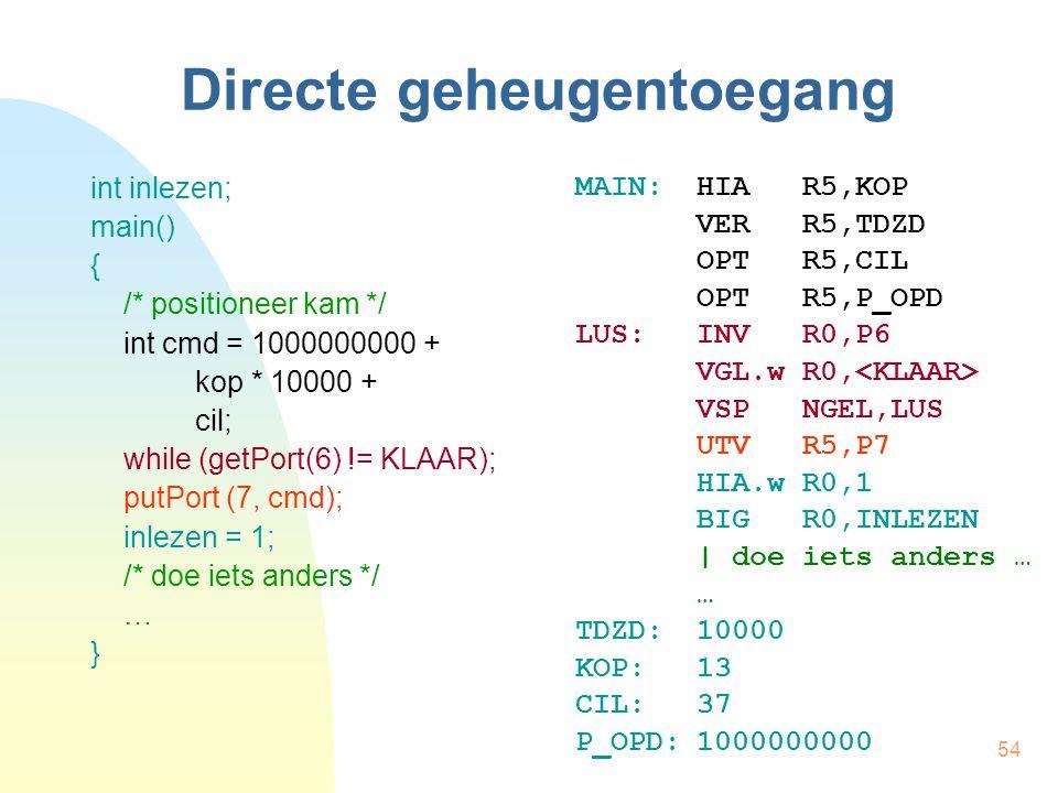 54 Directe geheugentoegang int inlezen; main() { /* positioneer kam */ int cmd = 1000000000 + kop * 10000 + cil; while (getPort(6) != KLAAR); putPort (7, cmd); inlezen = 1; /* doe iets anders */ … } MAIN:HIA R5,KOP VER R5,TDZD OPT R5,CIL OPT R5,P_OPD LUS:INV R0,P6 VGL.w R0, VSP NGEL,LUS UTV R5,P7 HIA.w R0,1 BIG R0,INLEZEN | doe iets anders … … TDZD:10000 KOP:13 CIL:37 P_OPD:1000000000