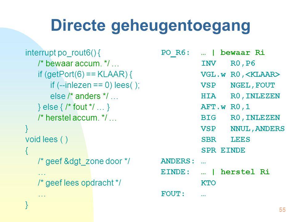 55 Directe geheugentoegang interrupt po_rout6() { /* bewaar accum.