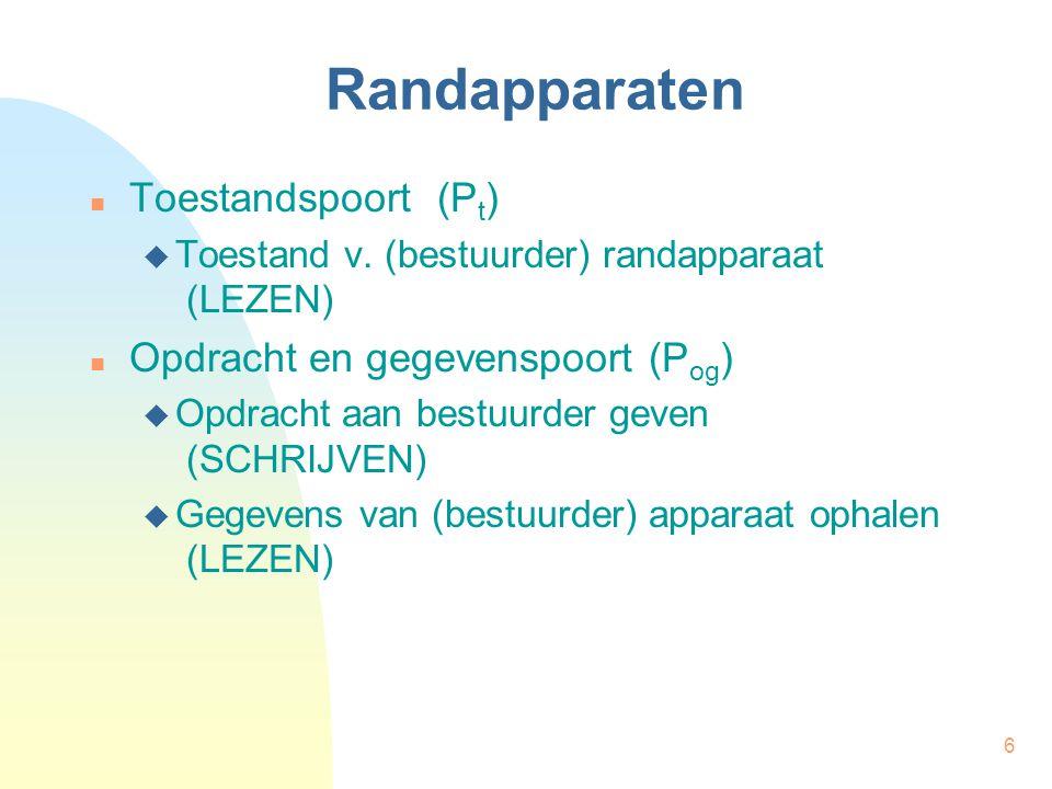 27 Geprogrammeerde in/uitvoer int Pt, Pog, opdracht, geg; Pt = 6; Pog = 7; opdracht = …; /* geven van opdracht */ while (getPort(Pt) != KLAAR); putPort(Pog, opdracht); /* lezen van gegevens */ while (getPort(Pt) != GEG); geg = getPort(Pog); MEVA Pt,6 MEVA Pog,7 MEVA KLAAR,0 MEVA GEG,2 LUS1:INVR0,P VGL.wR0, VSPNGEL,LUS1 opd:…