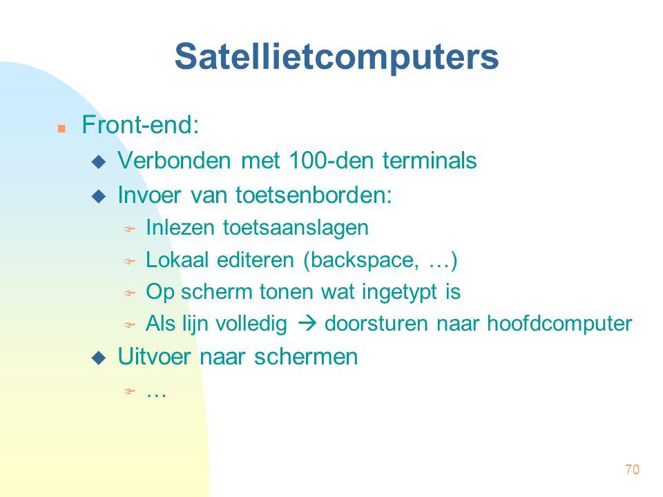 70 Satellietcomputers Front-end:  Verbonden met 100-den terminals  Invoer van toetsenborden:  Inlezen toetsaanslagen  Lokaal editeren (backspace, …)  Op scherm tonen wat ingetypt is  Als lijn volledig  doorsturen naar hoofdcomputer  Uitvoer naar schermen  …