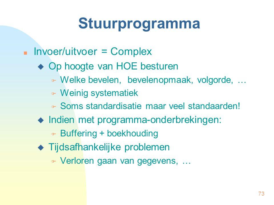 73 Stuurprogramma Invoer/uitvoer = Complex  Op hoogte van HOE besturen  Welke bevelen, bevelenopmaak, volgorde, …  Weinig systematiek  Soms standardisatie maar veel standaarden.