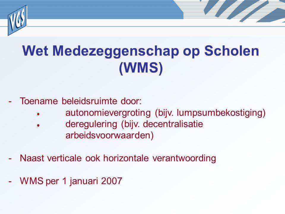 Wet Medezeggenschap op Scholen (WMS) -Toename beleidsruimte door: autonomievergroting (bijv. lumpsumbekostiging) deregulering (bijv. decentralisatie a