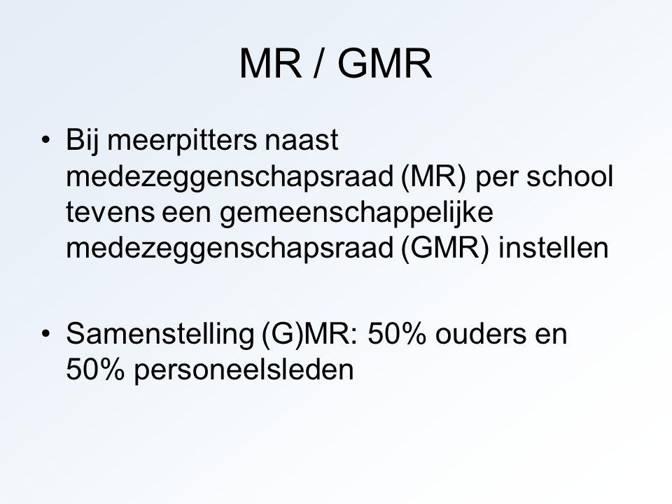 MR / GMR Bij meerpitters naast medezeggenschapsraad (MR) per school tevens een gemeenschappelijke medezeggenschapsraad (GMR) instellen Samenstelling (G)MR: 50% ouders en 50% personeelsleden
