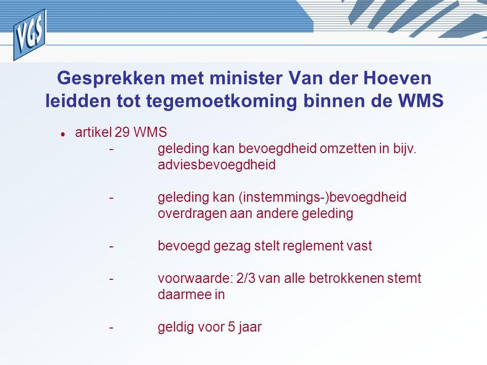 Gesprekken met minister Van der Hoeven leidden tot tegemoetkoming binnen de WMS artikel 29 WMS -geleding kan bevoegdheid omzetten in bijv. adviesbevoe