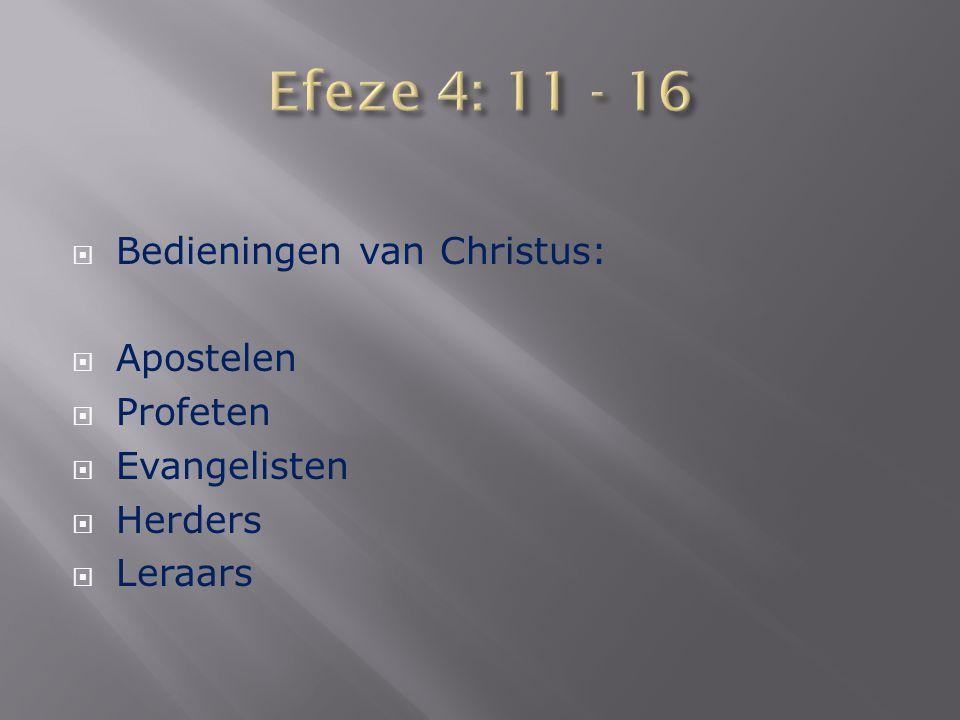  Bedieningen van Christus:  Apostelen  Profeten  Evangelisten  Herders  Leraars
