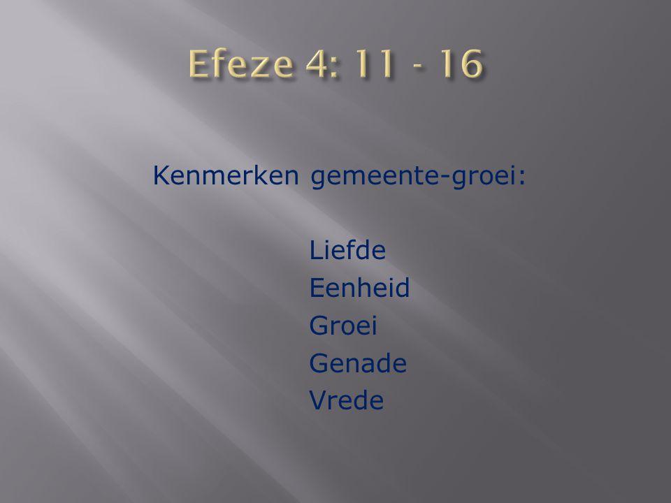Kenmerken gemeente-groei: Liefde Eenheid Groei Genade Vrede