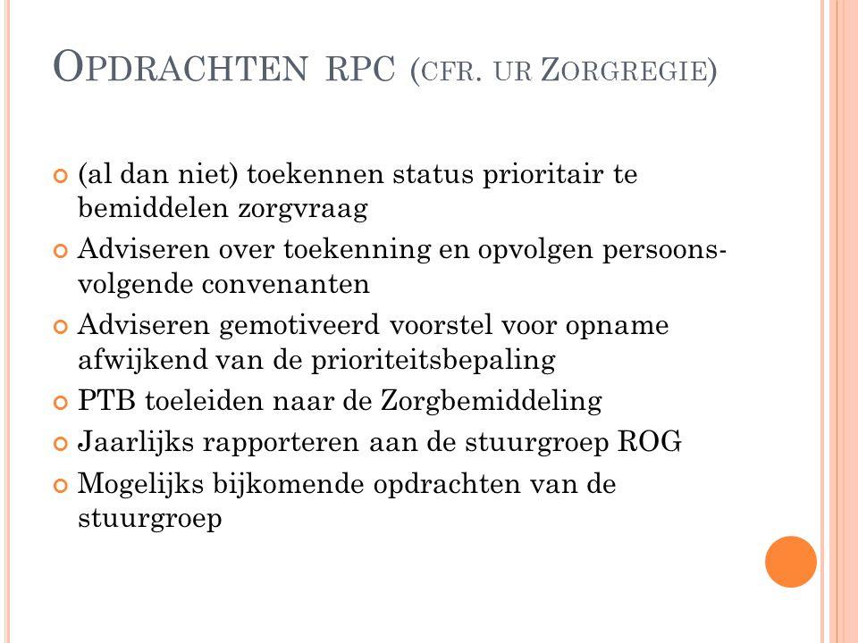 S AMENSTELLING RPC Iedere kamer bestaat uit: Stemgerechtigde leden:  2 leden vanuit de voorzieningen  2 leden vanuit de verenigingen voor personen met een handicap  2 leden vanuit het platform van verwijzers  + coördinator zorgregie Niet stemgerechtigde leden Het coördinatiepunt handicap Oost-Vlaanderen; Een neutrale voorzitter wordt toegevoegd aan de vergadering.