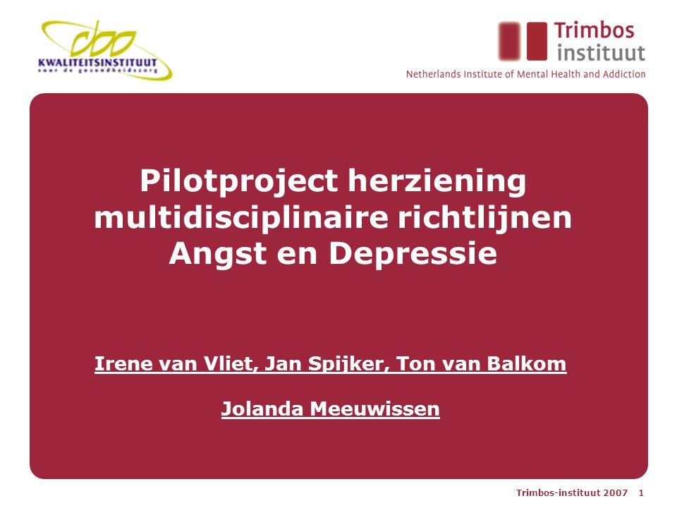 Trimbos-instituut 2007 1 Pilotproject herziening multidisciplinaire richtlijnen Angst en Depressie Irene van Vliet, Jan Spijker, Ton van Balkom Jolanda Meeuwissen
