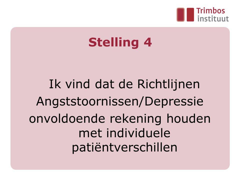 Stelling 4 Ik vind dat de Richtlijnen Angststoornissen/Depressie onvoldoende rekening houden met individuele patiëntverschillen