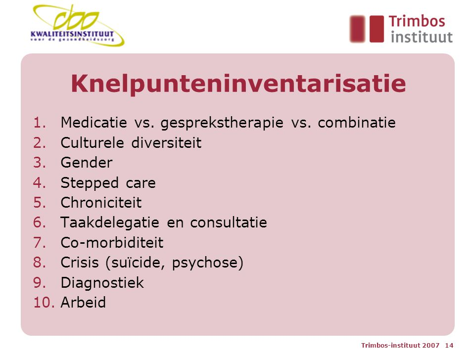 Trimbos-instituut 2007 14 Knelpunteninventarisatie 1.Medicatie vs. gesprekstherapie vs. combinatie 2.Culturele diversiteit 3.Gender 4.Stepped care 5.C