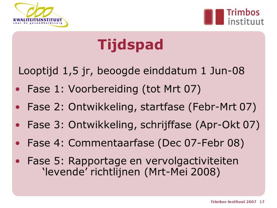 Trimbos-instituut 2007 17 Tijdspad Looptijd 1,5 jr, beoogde einddatum 1 Jun-08 Fase 1: Voorbereiding (tot Mrt 07) Fase 2: Ontwikkeling, startfase (Febr-Mrt 07) Fase 3: Ontwikkeling, schrijffase (Apr-Okt 07) Fase 4: Commentaarfase (Dec 07-Febr 08) Fase 5: Rapportage en vervolgactiviteiten 'levende' richtlijnen (Mrt-Mei 2008)