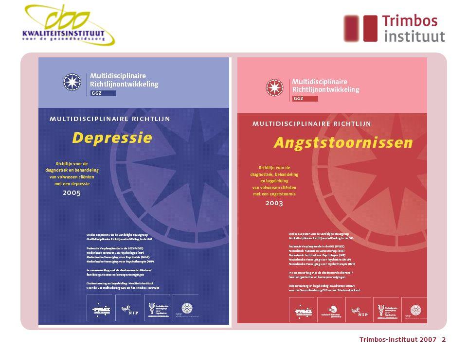 Trimbos-instituut 2007 23 Vorm richtlijn paniek en depressie-4 1 e episode- ernstig Altijd: Psycho-educatie en controle Stap 1: antidepressiva of psychotherapie Stap 2: combinatiebehandeling Stap 3: intensiveer stap 2