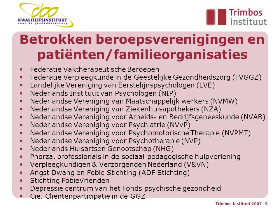 Trimbos-instituut 2007 10 Projectdoelstellingen 1.Tot stand brengen van ' levende ' richtlijnen voor angststoornissen en depressie door gebruik te maken van een digitale werkwijze 2.Herzien (gedeeltelijk) van de huidige multidisciplinaire richtlijnen voor angststoornissen en depressie aan de hand van 3-5 uitgangsvragen per richtlijn