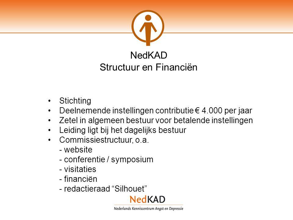 NedKAD Structuur en Financiën Stichting Deelnemende instellingen contributie € 4.000 per jaar Zetel in algemeen bestuur voor betalende instellingen Leiding ligt bij het dagelijks bestuur Commissiestructuur, o.a.