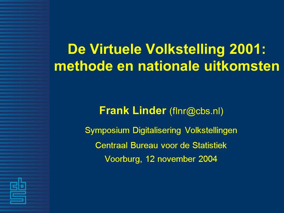 De Virtuele Volkstelling 2001: methode en nationale uitkomsten Frank Linder (flnr@cbs.nl) Symposium Digitalisering Volkstellingen Centraal Bureau voor de Statistiek Voorburg, 12 november 2004