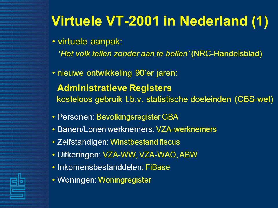 Virtuele VT-2001 in Nederland (2) Registers geschikte bron voor VT - kwalitatief goed - integraal - veel detail - koppelbaar (sofi-nummer) - krachtige PC's kunnen megabestanden goed aan Enquêtes (steekproef) - aanvullen ontbrekende variabelen in register - koppelbaar (geslacht, geboortedatum, adres) Beroep, opleiding: Enquête BeroepsBevolking (EBB) Woningen- en bewonerskenmerken: Woning Behoeften Onderzoek (WBO) Arbeidsduur, werkgemeente: Enq.