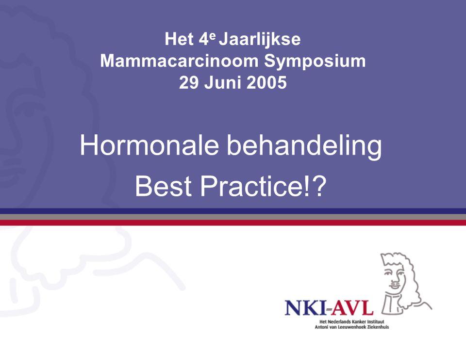 Het 4 e Jaarlijkse Mammacarcinoom Symposium 29 Juni 2005 Hormonale behandeling Best Practice!?