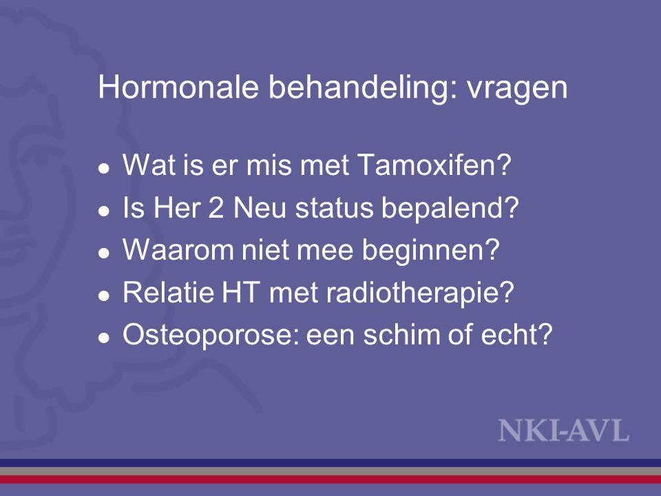 Hormonale behandeling: vragen Wat is er mis met Tamoxifen? Is Her 2 Neu status bepalend? Waarom niet mee beginnen? Relatie HT met radiotherapie? Osteo