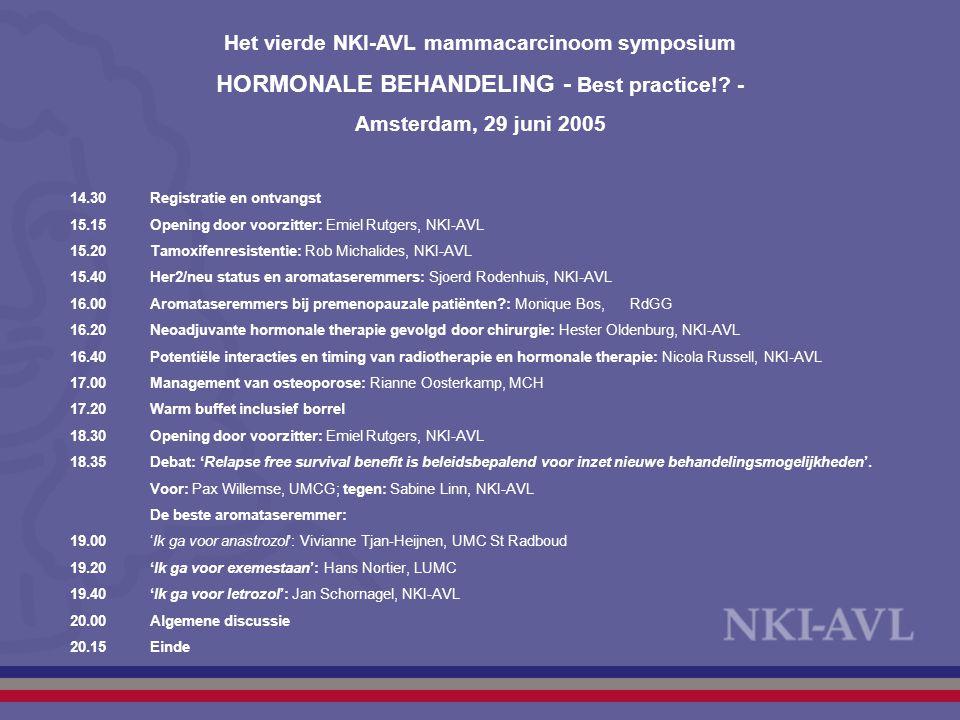 Het vierde NKI-AVL mammacarcinoom symposium HORMONALE BEHANDELING - Best practice!? - Amsterdam, 29 juni 2005 14.30Registratie en ontvangst 15.15Openi