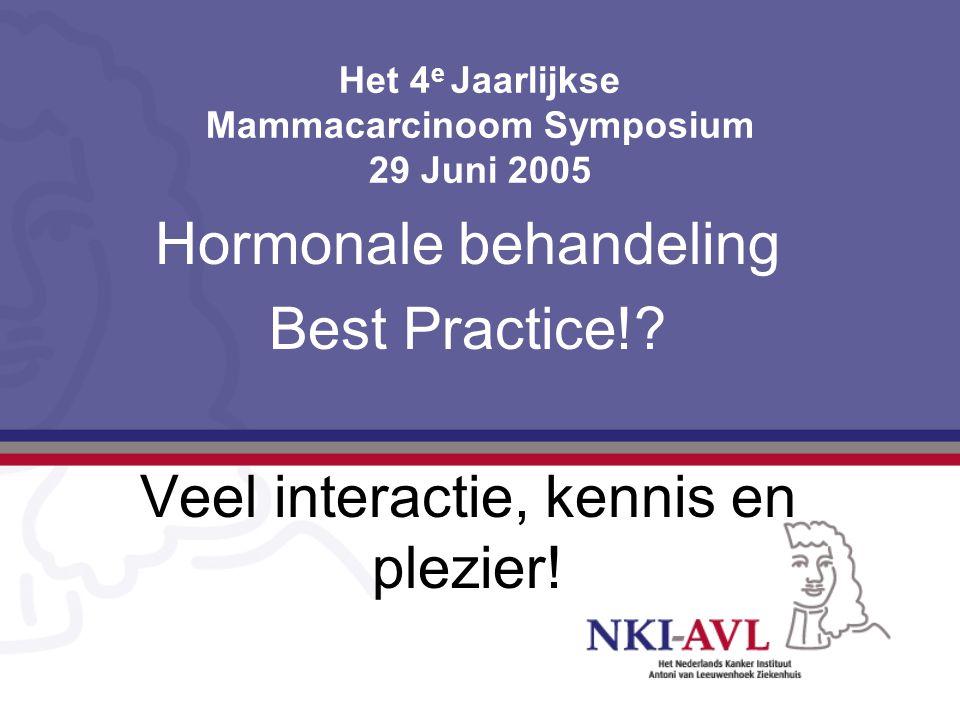 Het 4 e Jaarlijkse Mammacarcinoom Symposium 29 Juni 2005 Hormonale behandeling Best Practice!? Veel interactie, kennis en plezier!