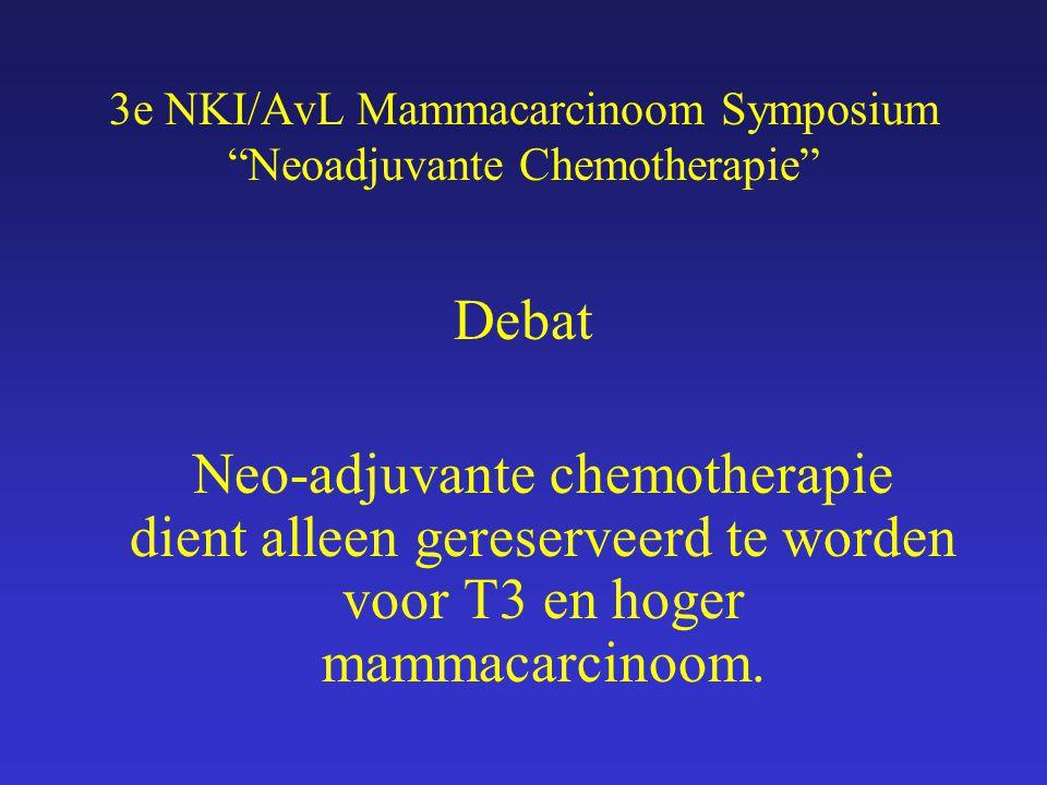 """3e NKI/AvL Mammacarcinoom Symposium """"Neoadjuvante Chemotherapie"""" Debat Neo-adjuvante chemotherapie dient alleen gereserveerd te worden voor T3 en hoge"""
