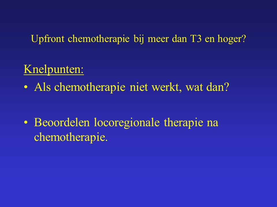 Upfront chemotherapie bij meer dan T3 en hoger? Knelpunten: Als chemotherapie niet werkt, wat dan? Beoordelen locoregionale therapie na chemotherapie.
