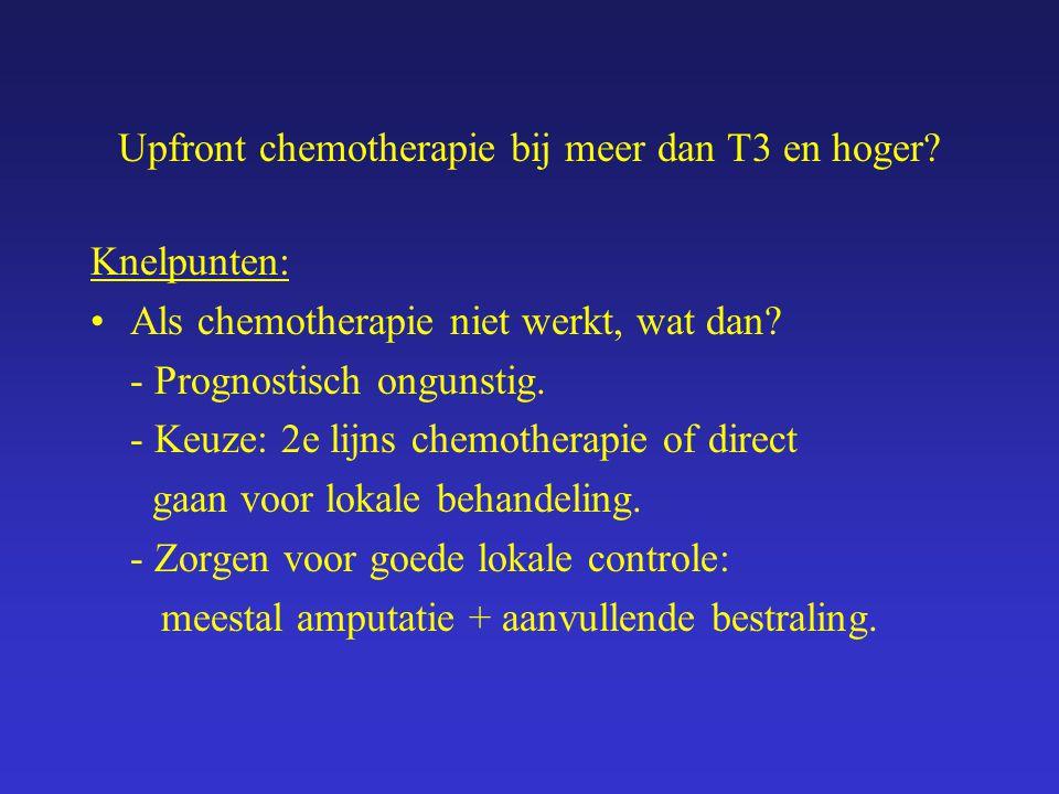 Upfront chemotherapie bij meer dan T3 en hoger? Knelpunten: Als chemotherapie niet werkt, wat dan? - Prognostisch ongunstig. - Keuze: 2e lijns chemoth