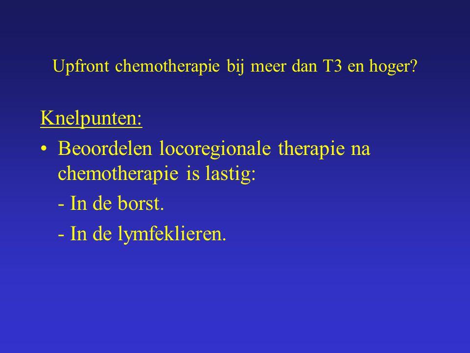 Upfront chemotherapie bij meer dan T3 en hoger? Knelpunten: Beoordelen locoregionale therapie na chemotherapie is lastig: - In de borst. - In de lymfe