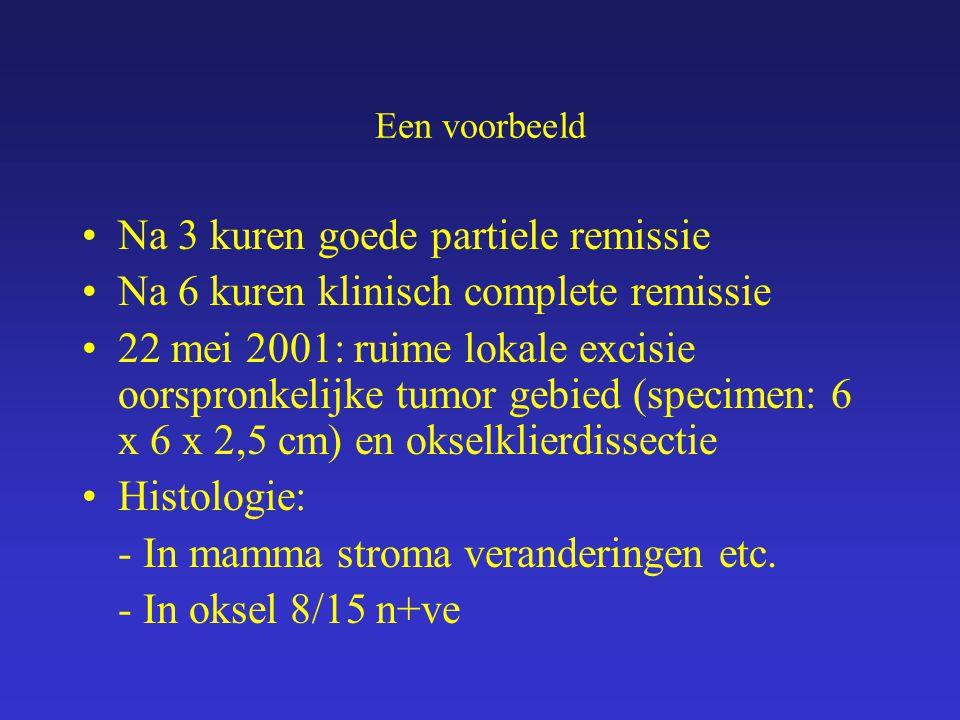 Een voorbeeld Na 3 kuren goede partiele remissie Na 6 kuren klinisch complete remissie 22 mei 2001: ruime lokale excisie oorspronkelijke tumor gebied